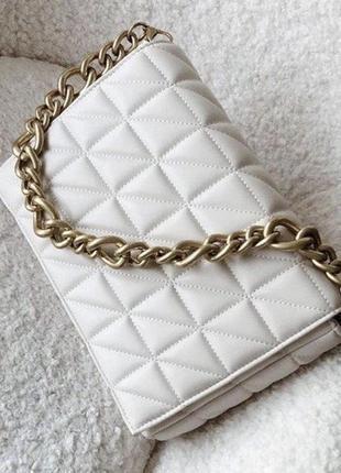 🛍 новая белая сумочка zara с биркой 👜 натуральная кожа!!!