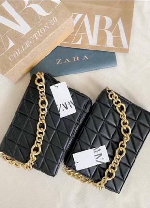 🛍 новые чёрные сумочки zara с биркой 👜 натуральная кожа!!!