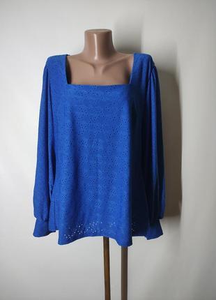 Темно-голубая блуза кофта с прошвой вышивка ришелье вырез каре квадртаный рукава фонарики