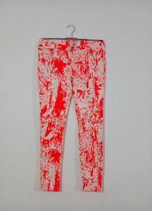 Цікаві творчі  джинси скіні неон ексклюзив