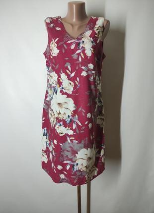 Льяняное платье прямого кроя лен бордо с цветами