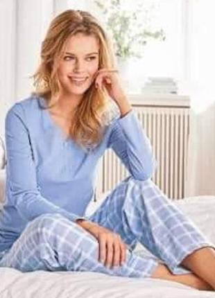 Фланелевая пижама blue motion l удобный домашний костюм