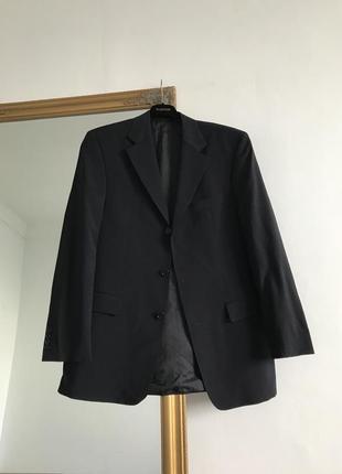 Темно синий пиджак блейзер с мужского плеча оверсайз классический hugo boss k17