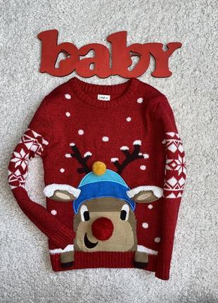 Новогодний очень классный свитерок на 6-7 лет)