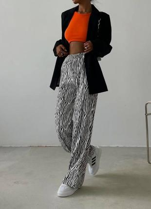 Брюки летние лёгкие зебра с животным принтом трендовые штаны модные легкие широкие с высокой талией посадкой на резинке