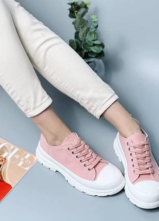 Женские розовые текстильные кроссовки на резиновой подошве