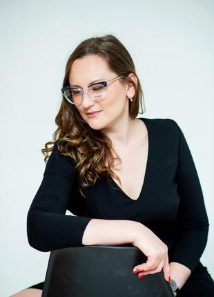 Женская оправа очки прозрачная с металлическими дужками3 фото