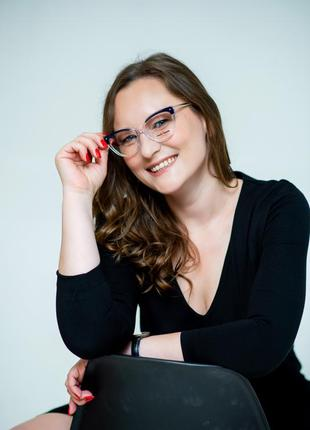 Женская оправа очки прозрачная с металлическими дужками1 фото