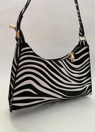 Зебра полоска сумка сумочка багет винтаж черная белая ретро клатч