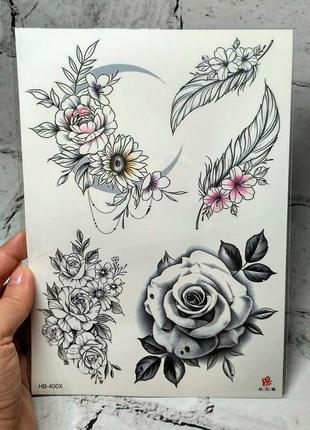 Флеш тату временные татуировки на тело, акварельные флэш тату, переснималки, переводки