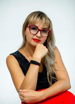 Женские очки для имиджа и работы за компьютером оправа под установку линз бордового