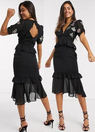 Распродажа платье hope & ivy миди с вышивкой, баской и полуоткрытой спиной с asos