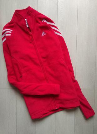 Яркая флисовая олимпийка худи adidas clima warm