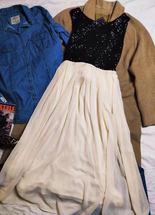 Tfnc london платье миди бежевое шифон с черными пайетками