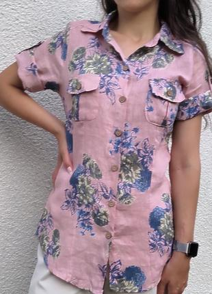 Винтажная рубашка в  цветочный принт,100 лен.