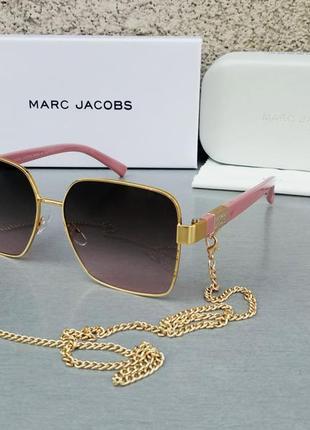 Marc jacobs модные женские солнцезащитные очки коричнево бордовый градиент в золотом металле с цепочкой