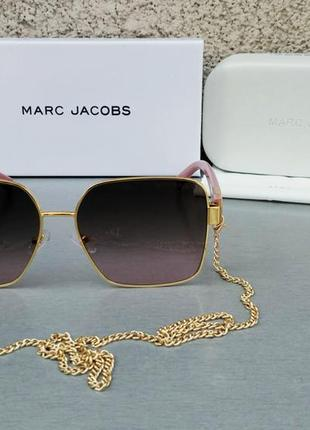 Marc jacobs модные женские солнцезащитные очки коричнево бордовый градиент в золотом металле с цепочкой2 фото