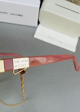 Marc jacobs модные женские солнцезащитные очки коричнево бордовый градиент в золотом металле с цепочкой10 фото