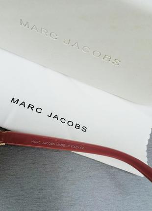Marc jacobs модные женские солнцезащитные очки коричнево бордовый градиент в золотом металле с цепочкой6 фото