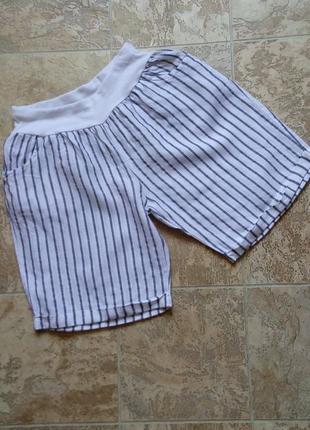 Итальянские женские шорты-бермуды/высокая посадка/100% лен/ на резинке/с  карманами/made in italy