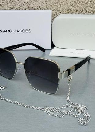 Marc jacobs модные женские солнцезащитные очки черные в серебристом металле с цепочкой