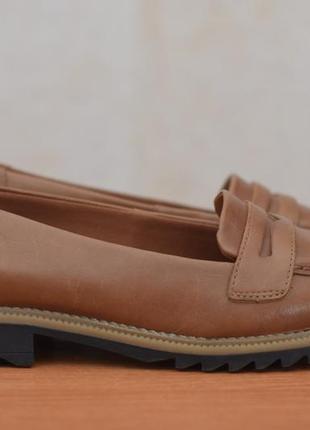 Женские кожаные коричневые туфли clarks, 38 размер. оригинал
