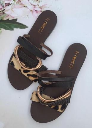 Шлёпанцы  кожаные шлепки сандали р.37/37,5 next