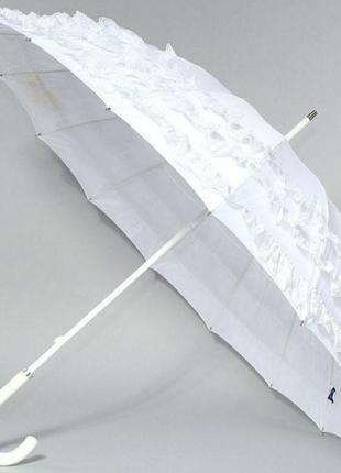 Зонт трость от солнца белый с кружевом  от дождя женский zest