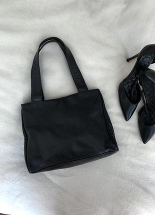 Кожаная сумка чёрная классическая шкіряна сумка
