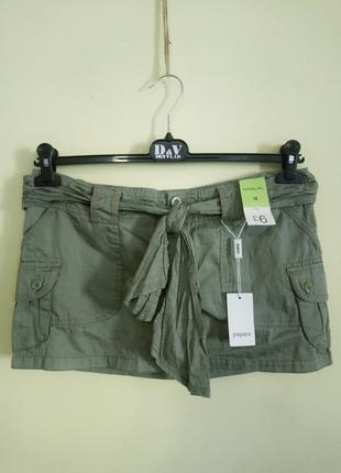 Короткая юбка с накладными карманами papaya