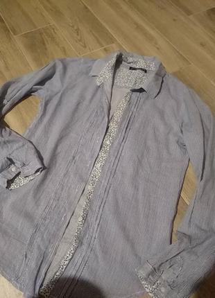 Хлопковая легкая тоненькая рубашка в полоску размер 36