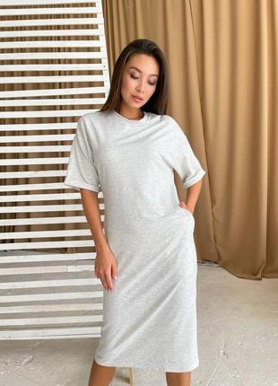 Свободное платье футболка с карманами