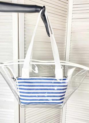 Прозрачная сумка пляжная сумка летняя сумка силиконовая сумка с косметичкой 2в1