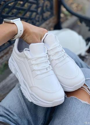 Кроссовки женские белые, эко-кожа