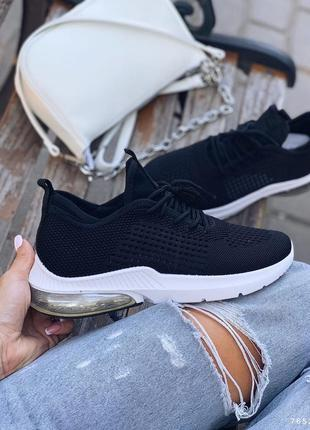 Кроссовки женские черные, обувной текстиль