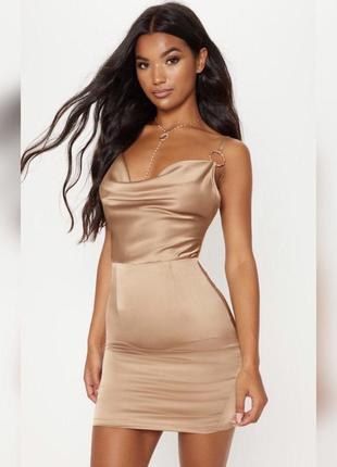 Атласное бежевое платье-комбинация prettylittlething.