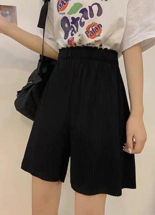 Шорти з завищеною талією легкі, нарядные шорты, стильные широкие шорты