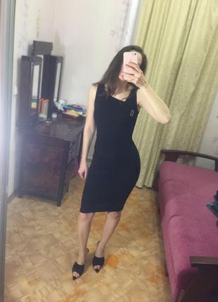 Karen millen чёрное платье миди облегающее