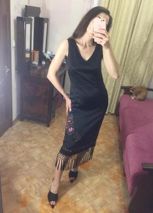 Чёрное шёлковое платье миди чёрное karen millen