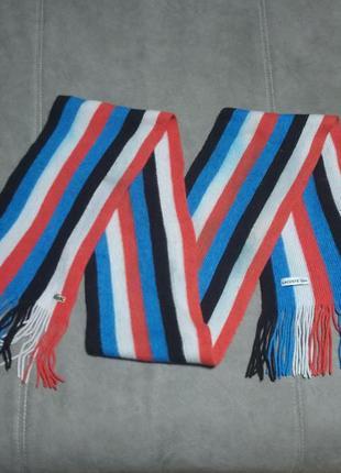 Шерстяной полосатый шарф лакосте