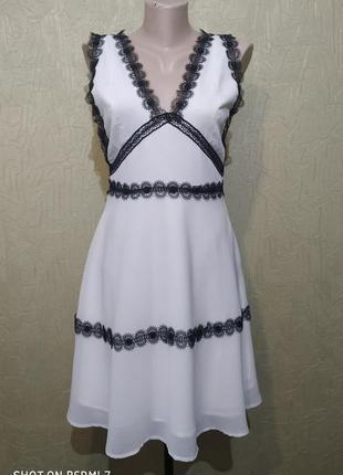 The kooples. платье белое с кружевом.
