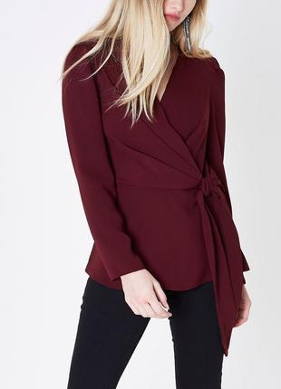 Новая винная бордовая блузка на запах с рукавами-фонариками river island