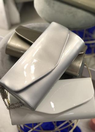 Серебристая вечерняя сумочка срібний вечірній клатч
