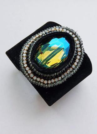 Широкий браслет бархат крупный кристалл хамелеон mya италия премиум бренд, эксклюзив