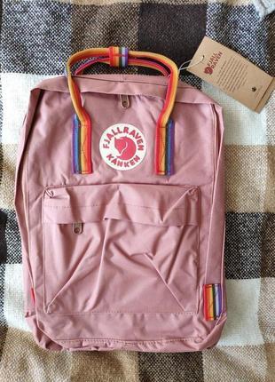 Рюкзак fjallraven kanken classic rainbow розовый с радужными ручками сумка16л