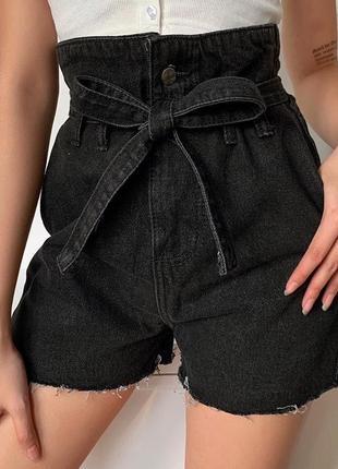 Черные шорты высокой посадки женские шорты