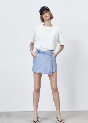 Джинсовые шорты юбка zara новая коллекция