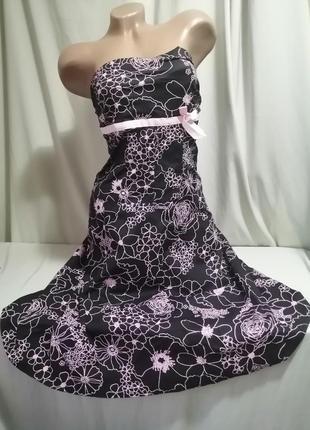 Натуральное платье бюстье принт