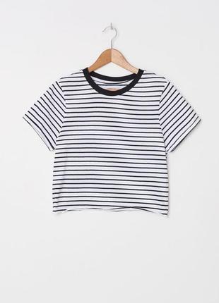 Новая хлопковая футболка в полоску house черная белая полосатая блуза широкая
