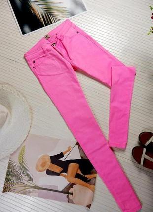 Джинсы only дания яркие розовые нежные скини стрейчевые штаны джеггинсы xs s